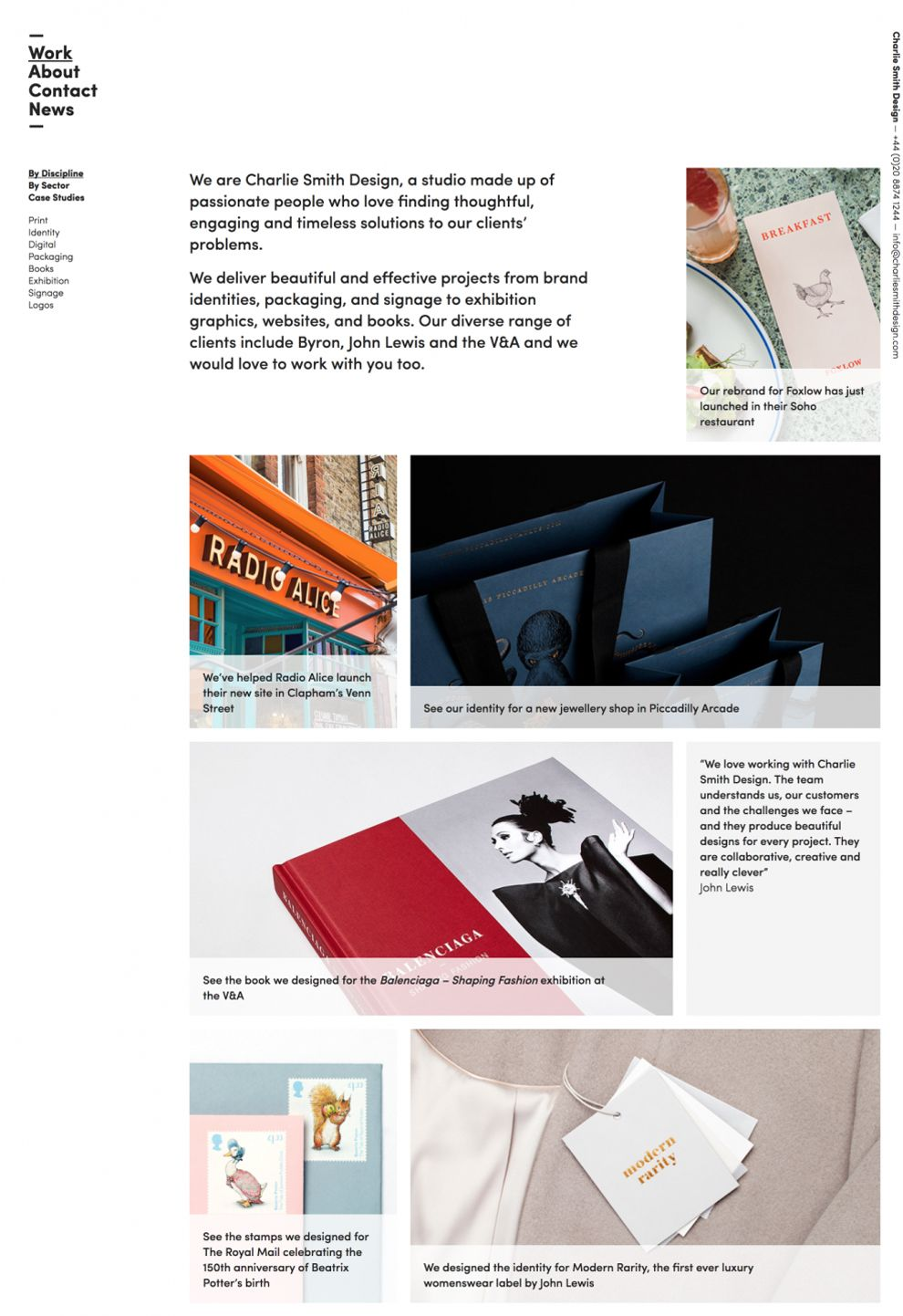 Charlie Smith Design Great Homepage