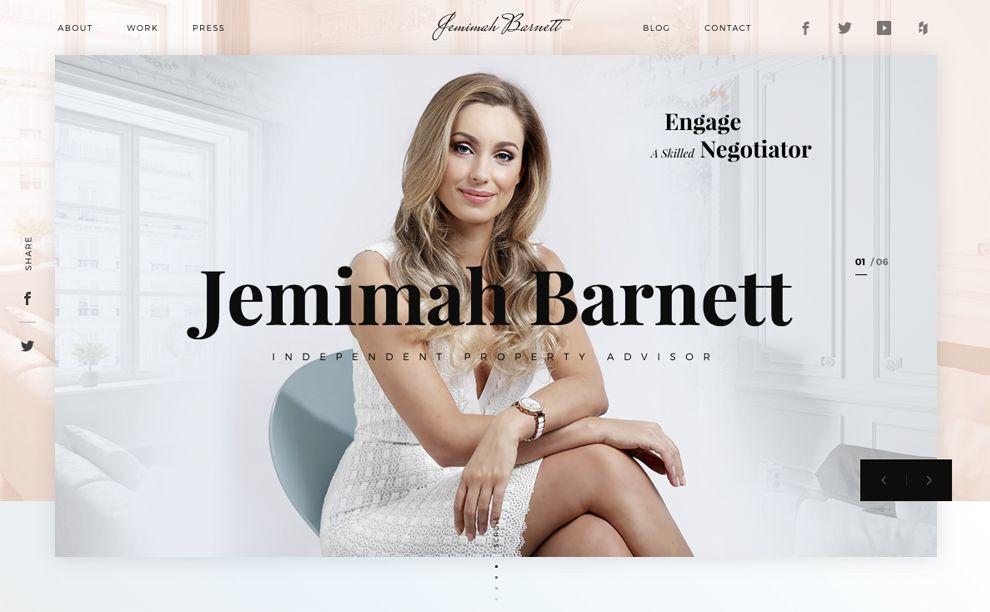 Jemimah Barnett Elegant Homepage
