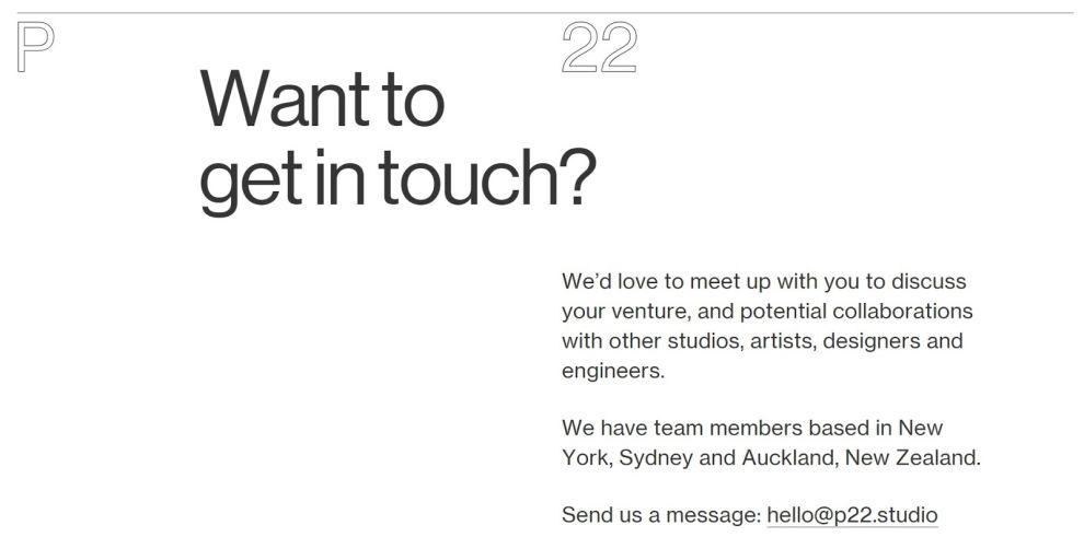 P22 Minimal Contact Page