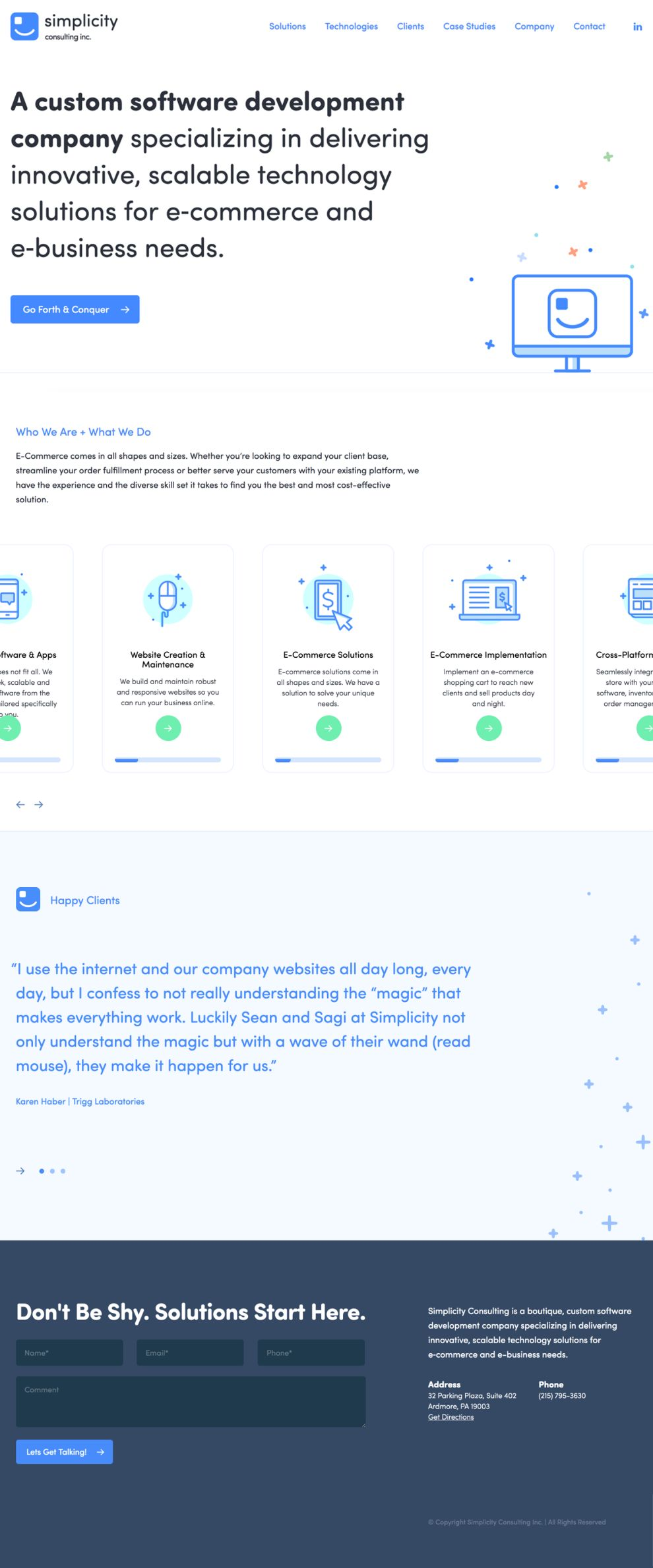 Simplicity Consulting Clean Homepage