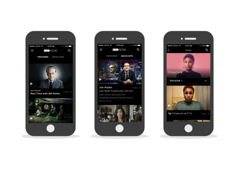 HBO Now Elegant App Design