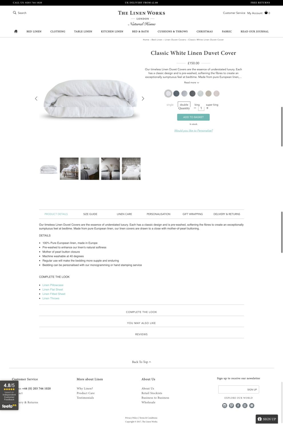 The Linen Works Corporate Product Page