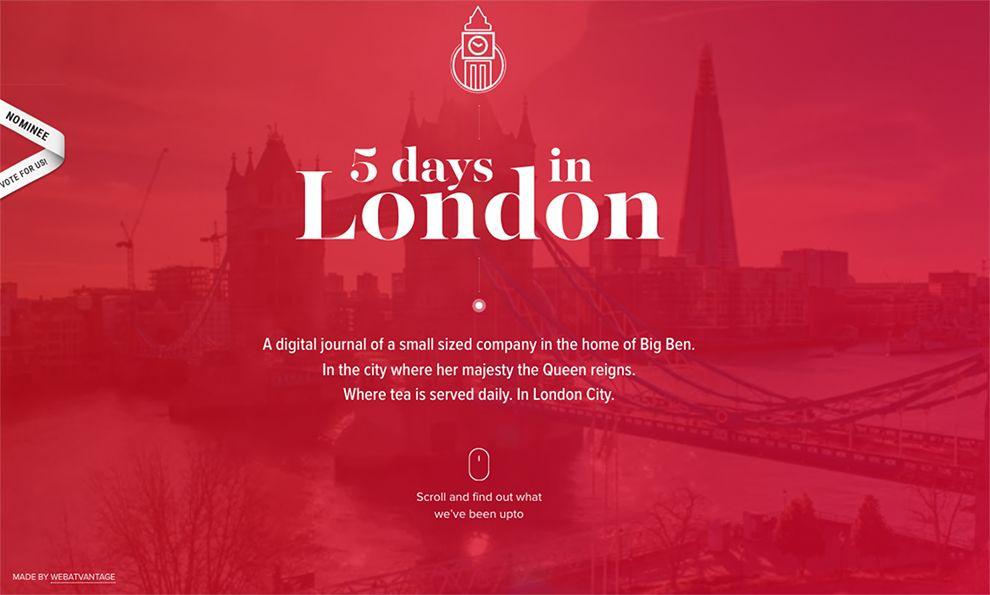 Web Atvantage: 5 Days in London Beautiful Landing Page