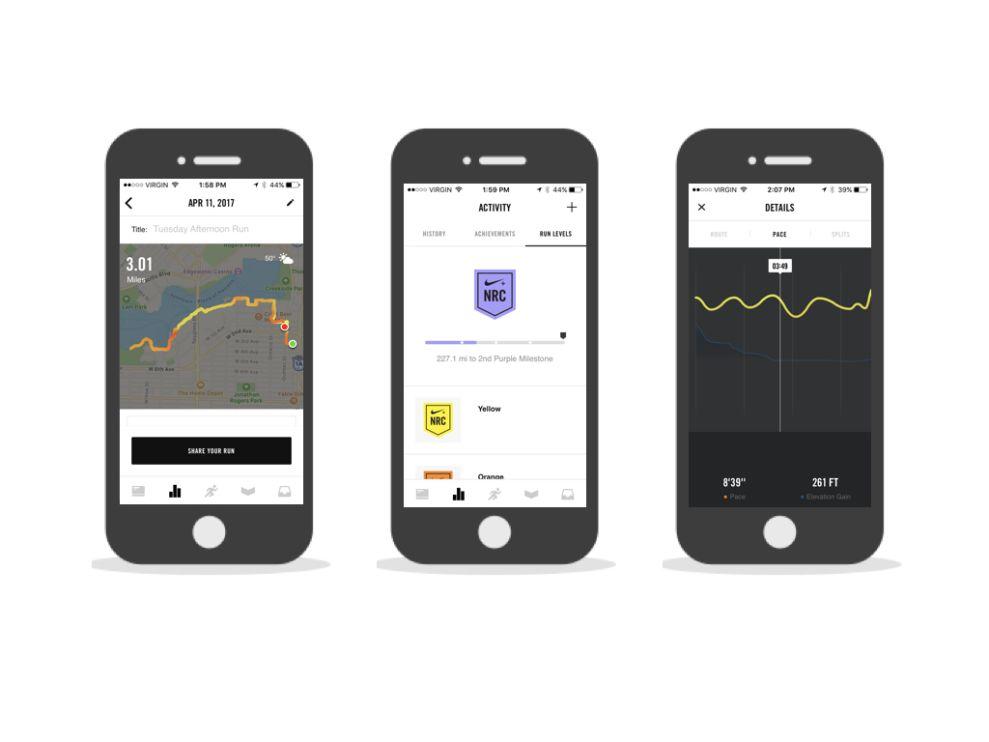 Nike+ Run Club iPhone Screenshots App Design