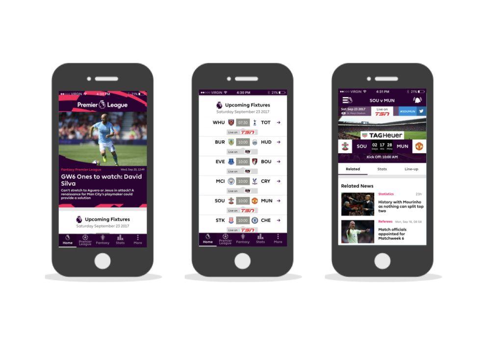 Premier League Modern App Design