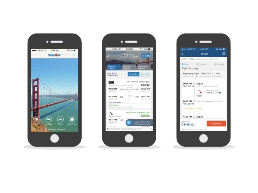 CheapOair Corporate App Design