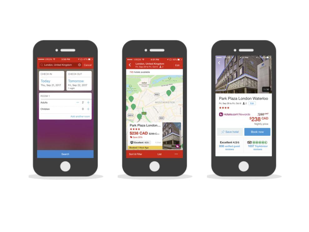 Hotels.com Colorful App Design