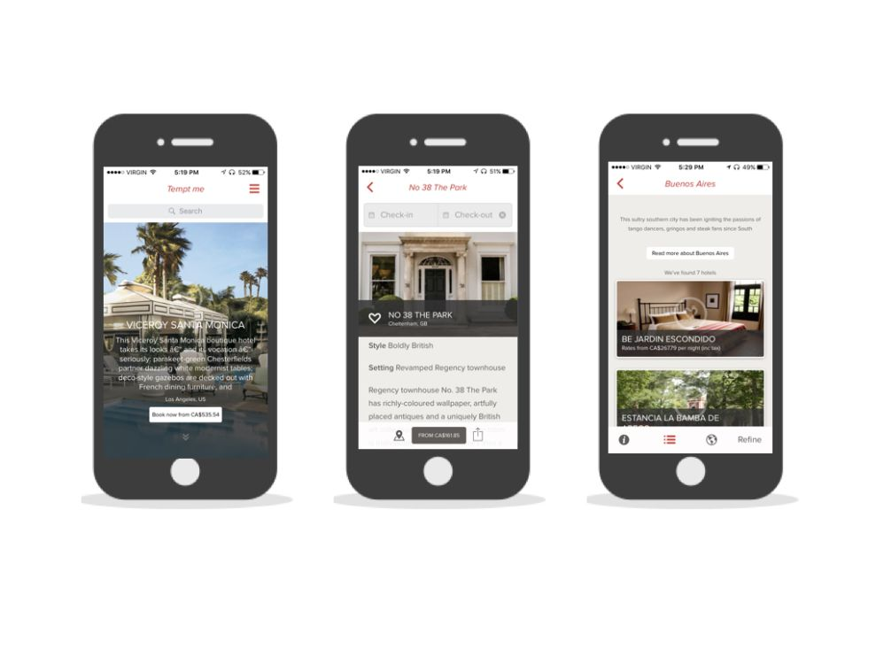 Smith Hotels Clean App Design