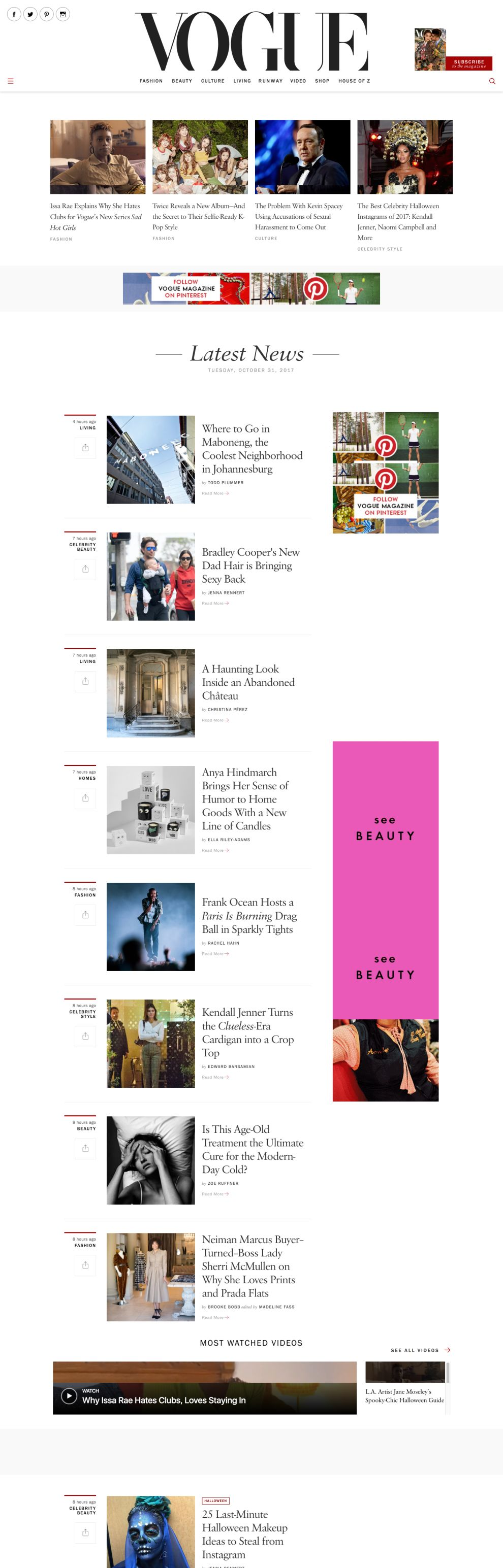 Vogue Minimal Homepage