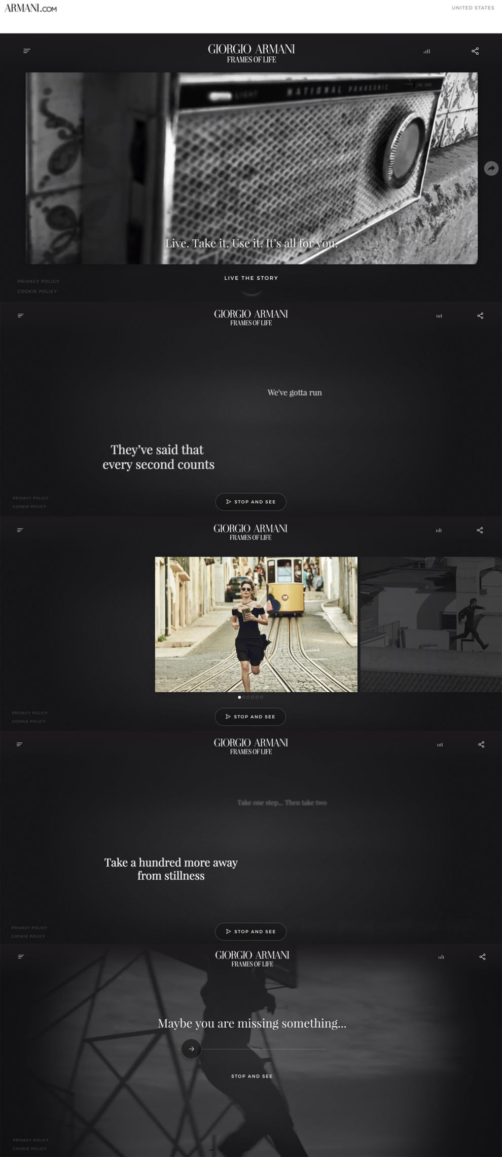 Giorgio Armani — Frames of Life Beautiful Homepage