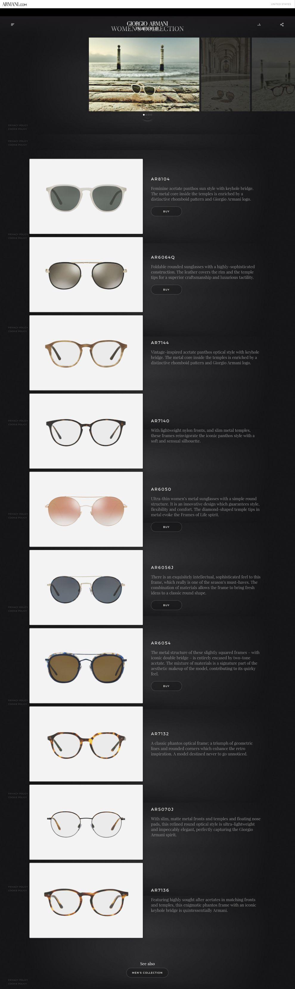 Giorgio Armani — Frames of Life Beautiful Product Page