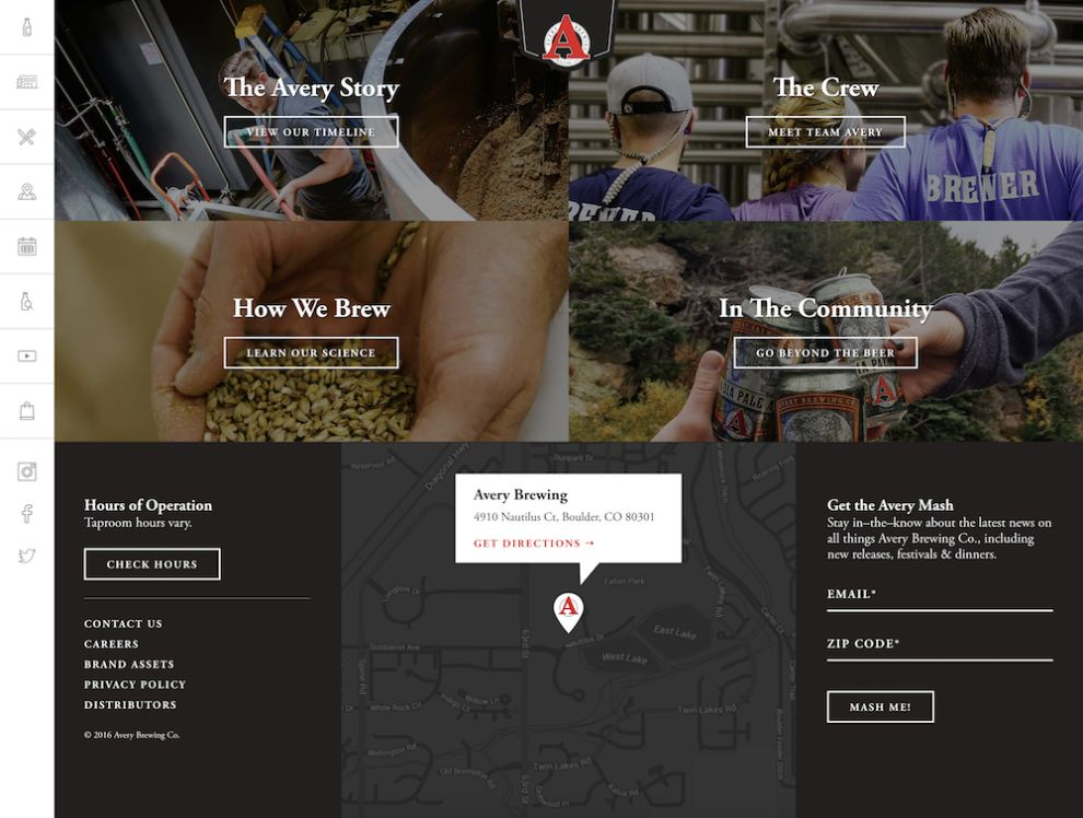 Avery Brewing Corporate Website Design