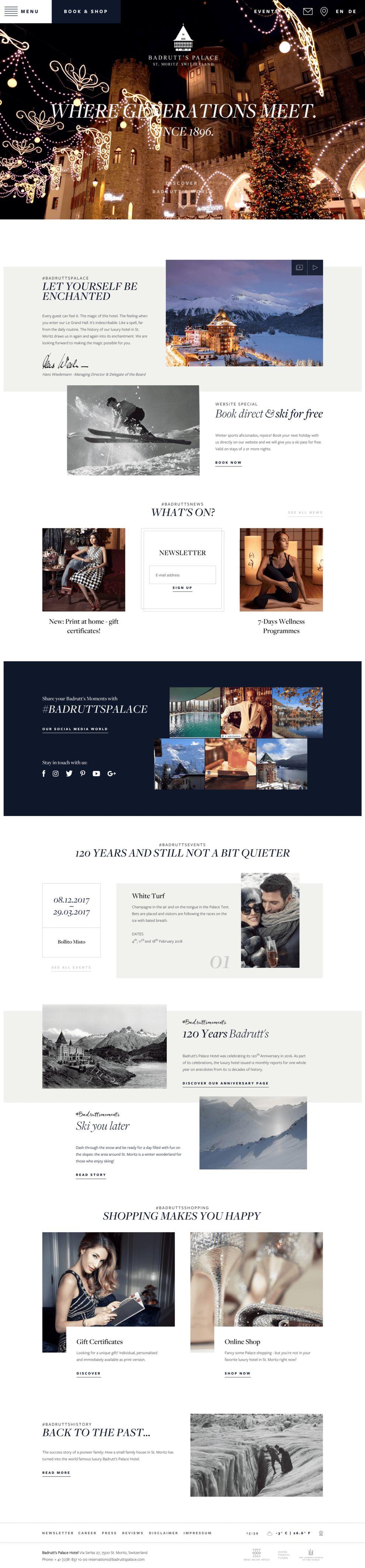 Badrutt's Palace Elegant Homepage