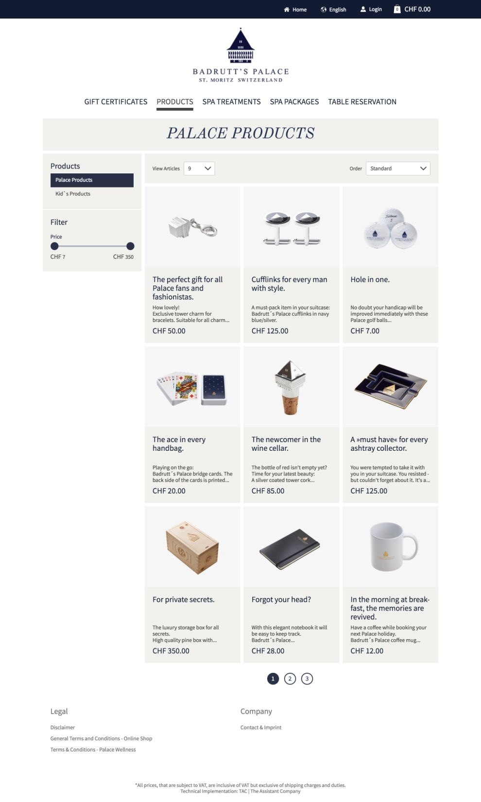 Badrutt's Palace Elegant Product page