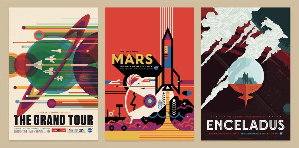 NASA Visions of the Future Retro Print Design