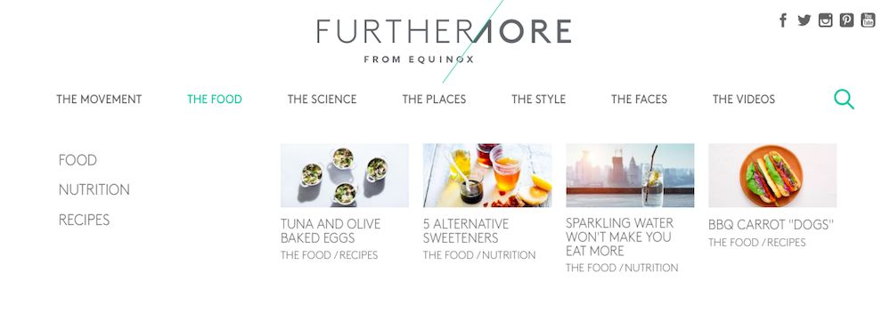 Furthermore from Equinox Website Design Menu