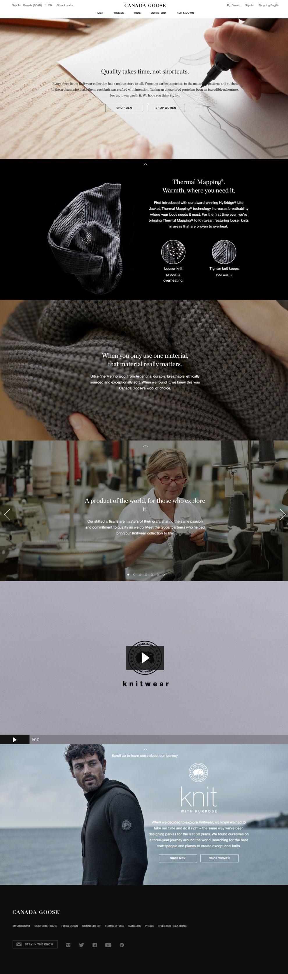 Canada Goose Beautiful Website Design