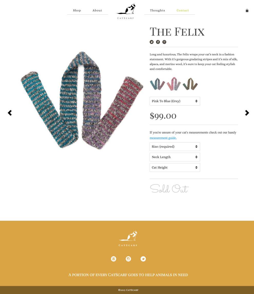 CatScarf Beautiful Product Page