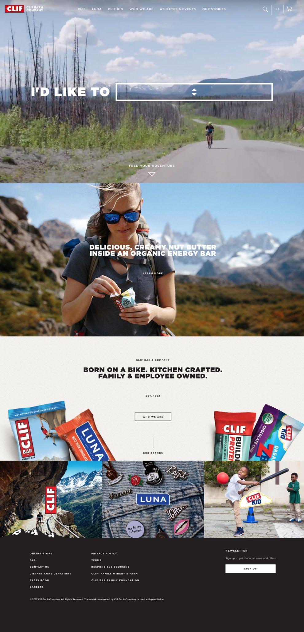 Clif Bar Stunning Homepage