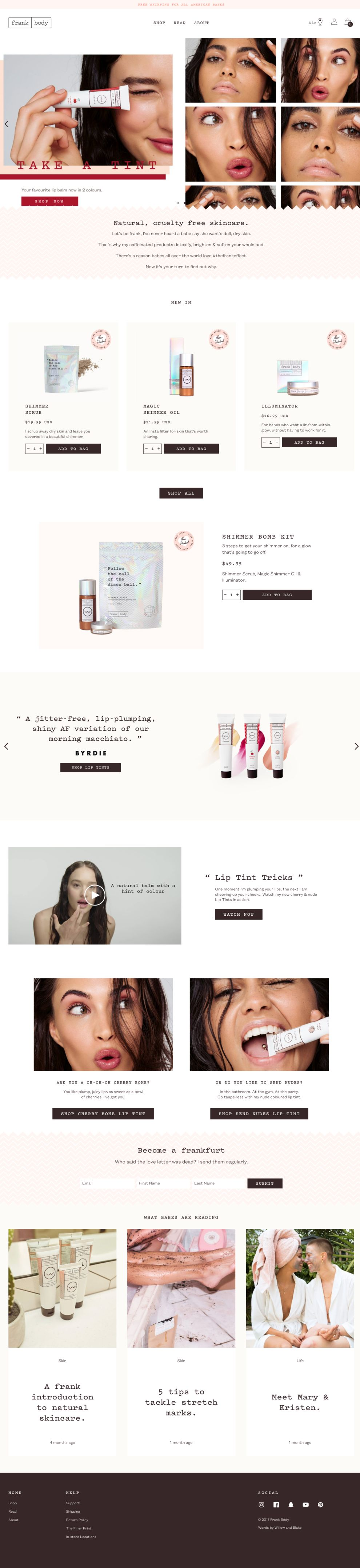Frank Body Clean Homepage