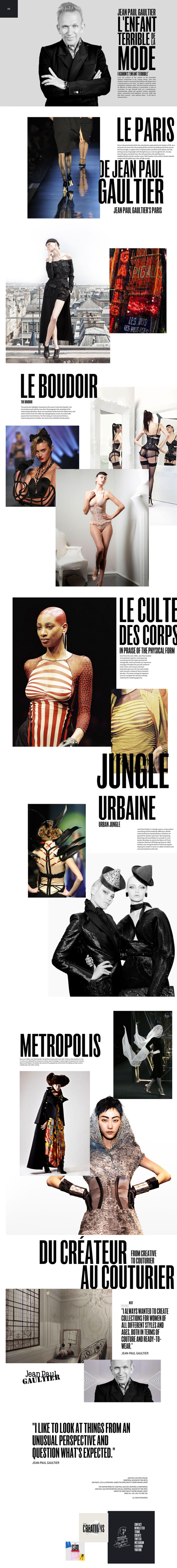 Jean Paul Gaultier Gorgeous Homepage Design