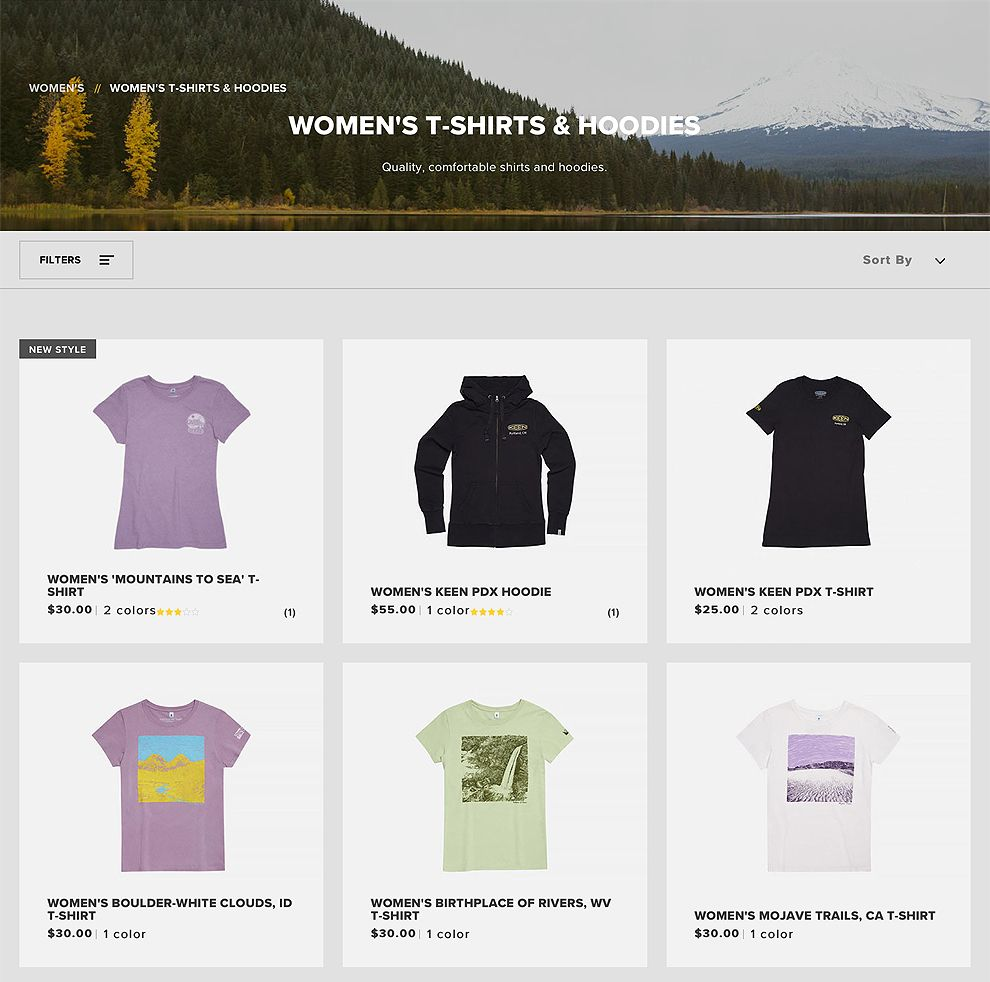 Keen Footwear Product Pages Website