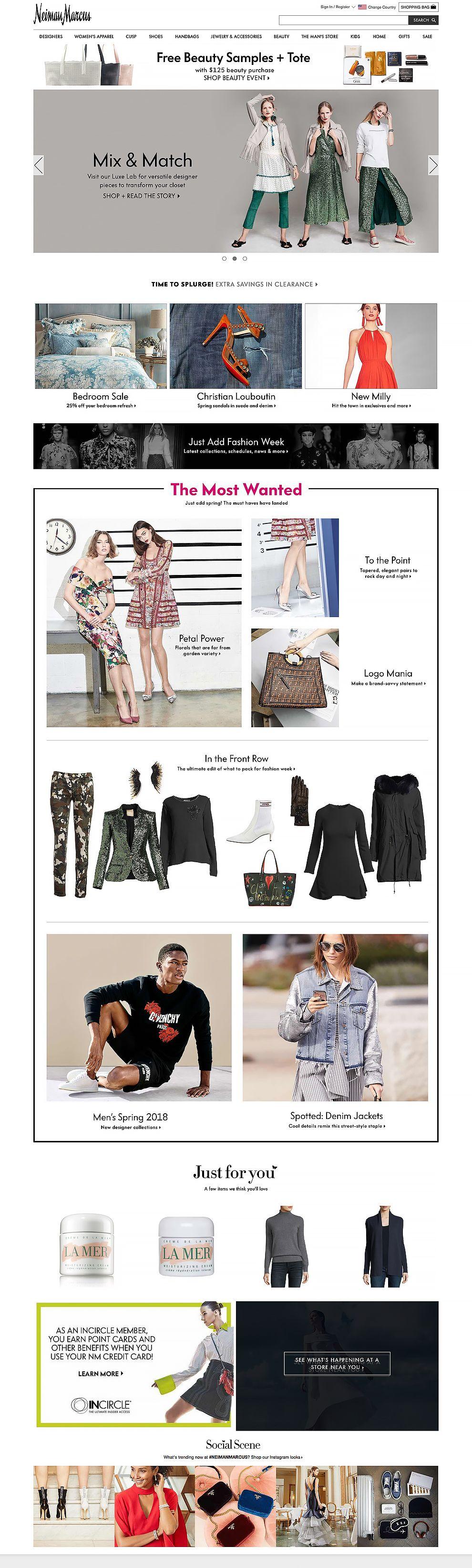 Neiman Marcus Luxury Website Homepage