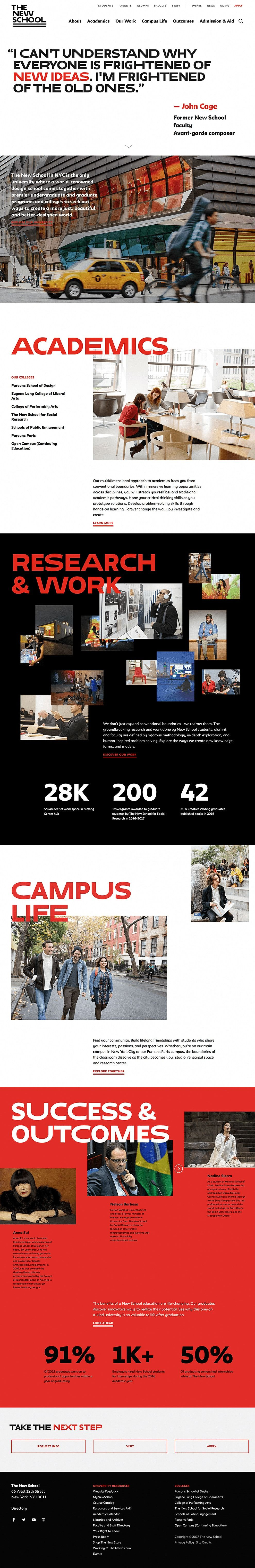 The New School Educational Website Design Homepage