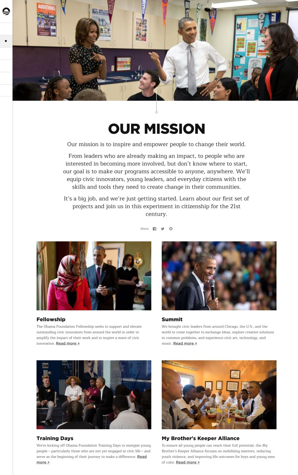 The Obama Foundation Minimal About Page