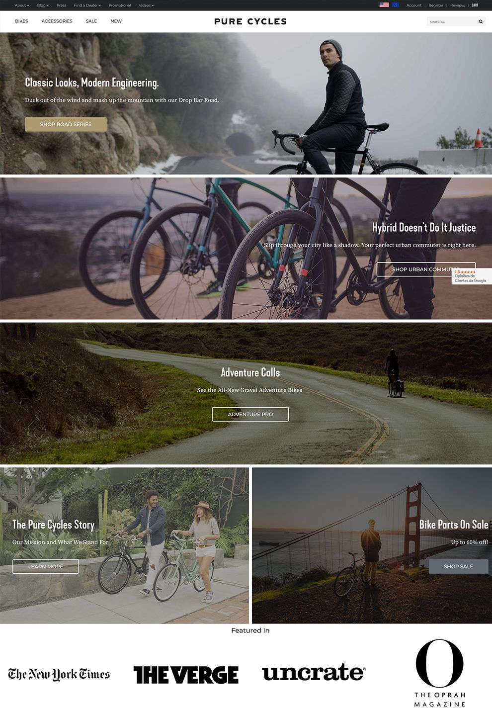 Pure Cycles Clean Homepage