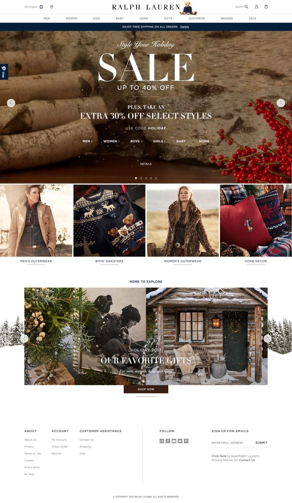 Ralph Lauren Clean Homepage