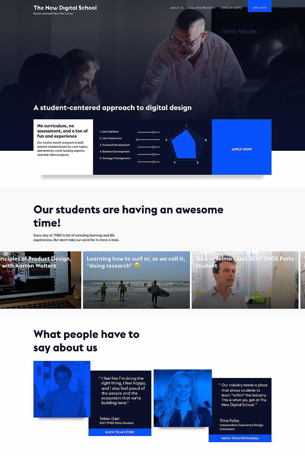 The New Digital School Contrasting Website Homepage
