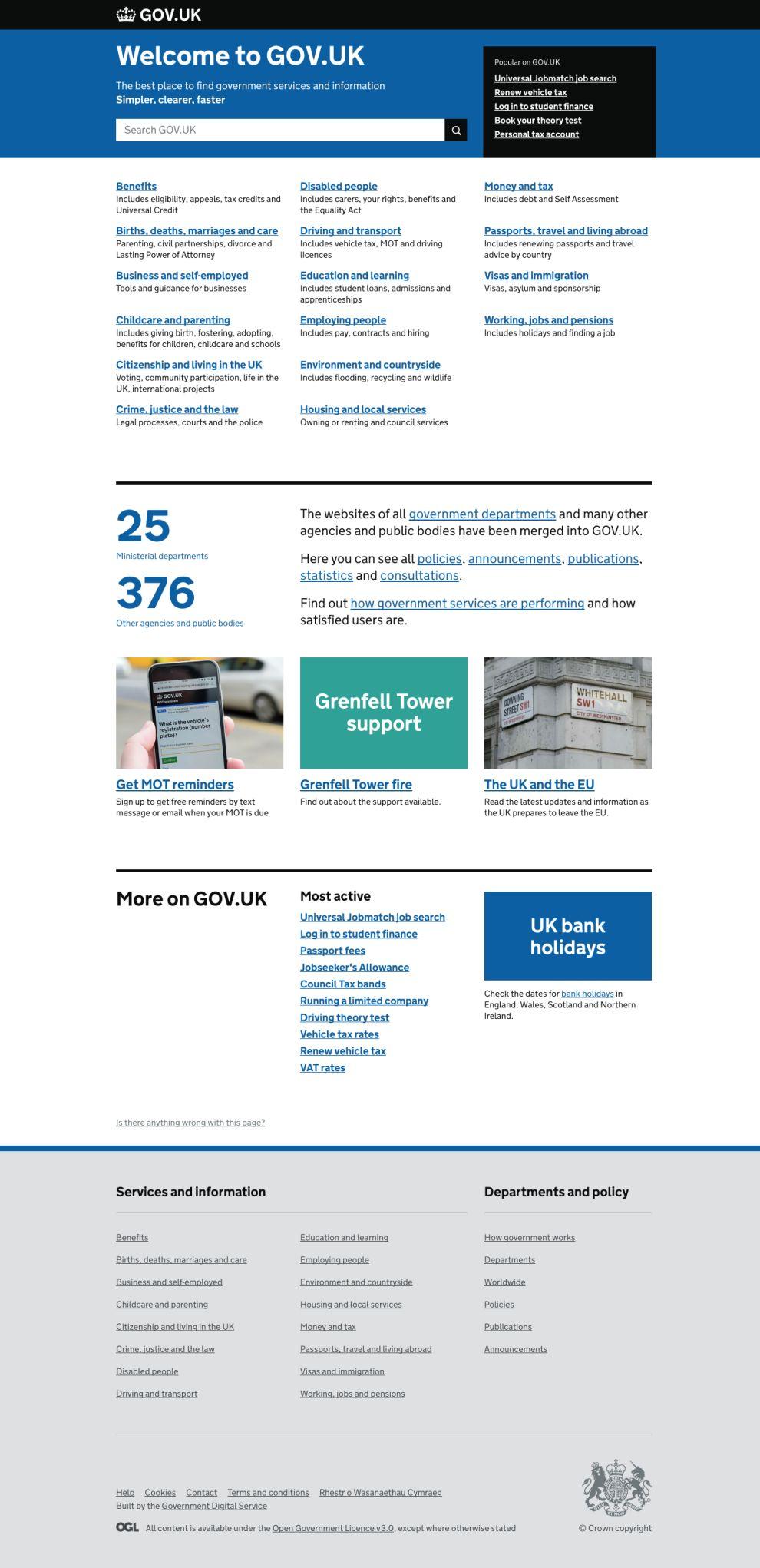 UK Gov Minimal Homepage