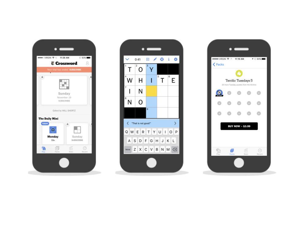 New York Times Crossword Minimal App Design