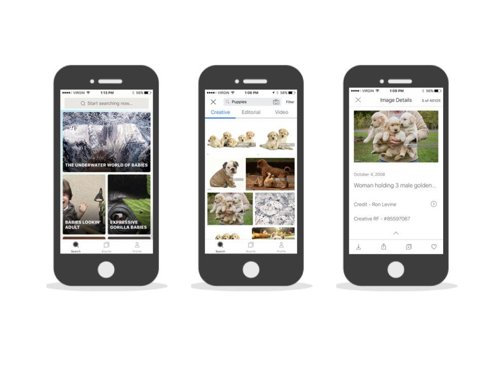 Getty Images Minimal App Design