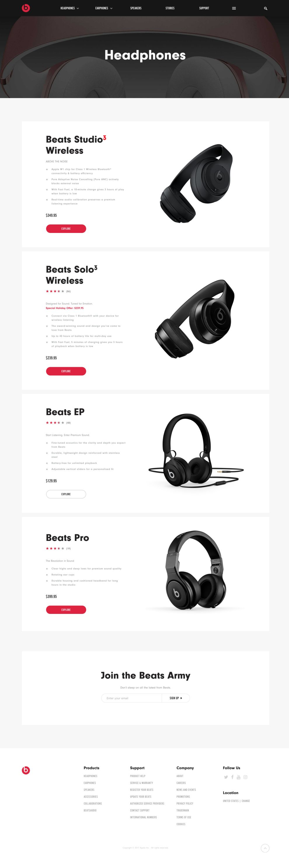 Beats By Dre Clean Product Page