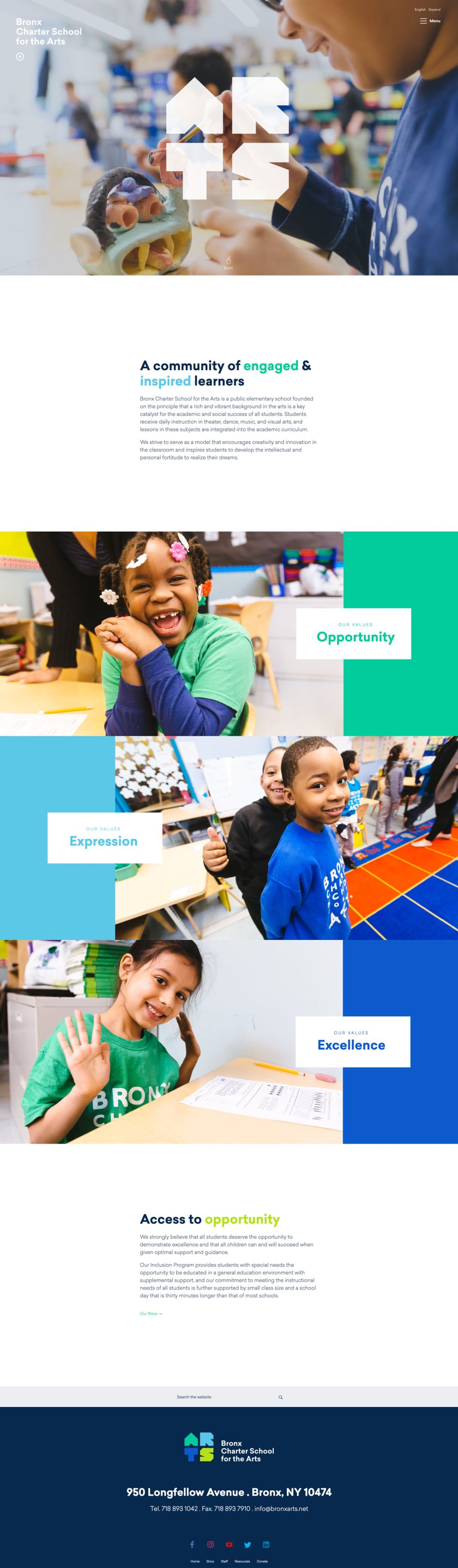Bronx Charter School for the Arts Colorful Website