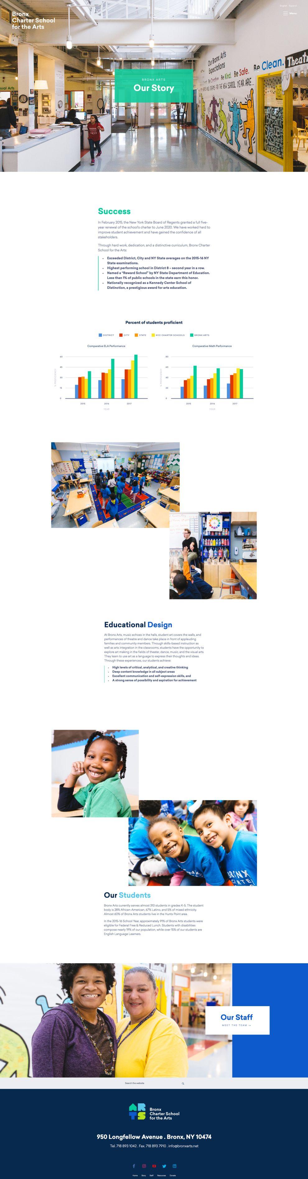 Bronx Charter School for the Arts Educational Website Design
