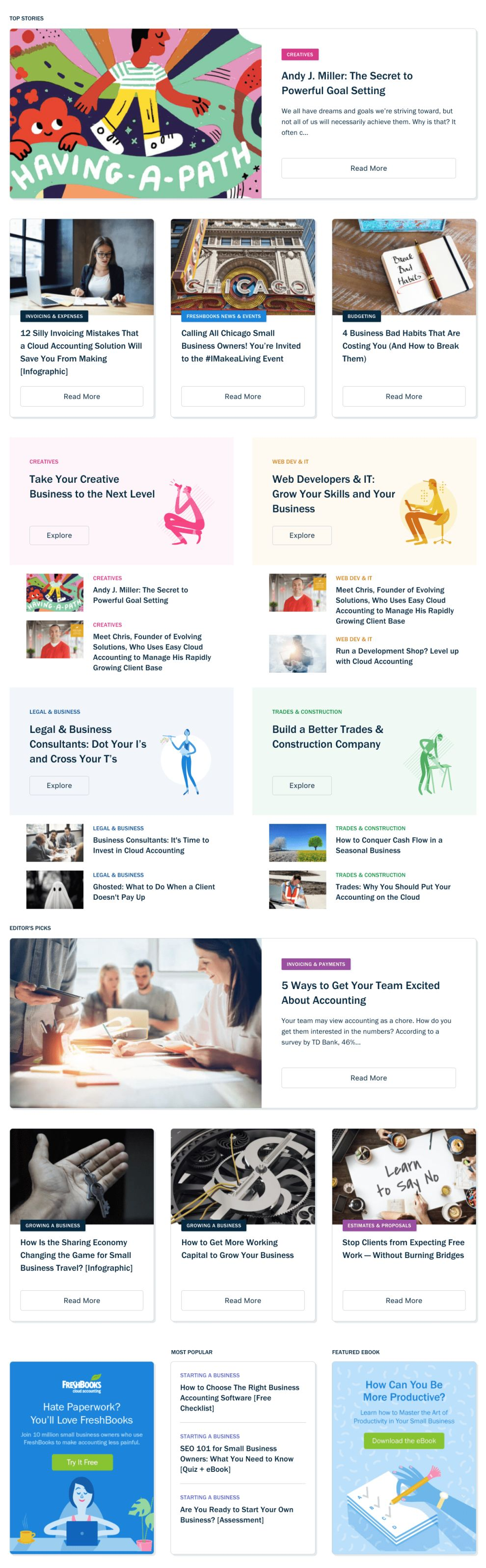 FreshBooks Corporate Blog Page