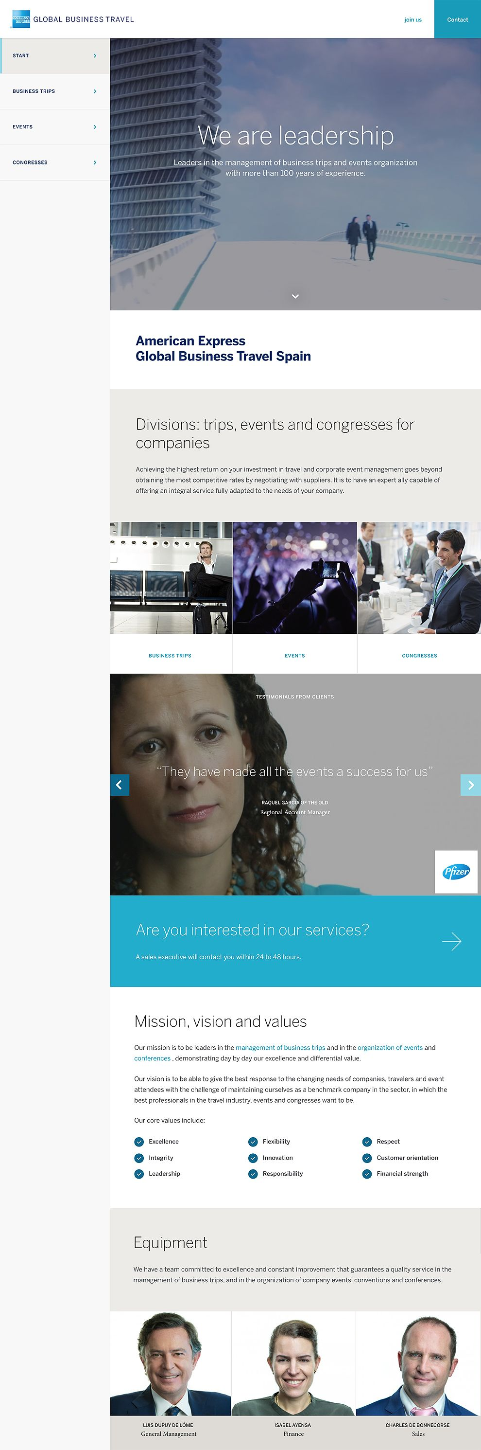 American Express - Global Business Travel Spain Professional Website Design Homepage