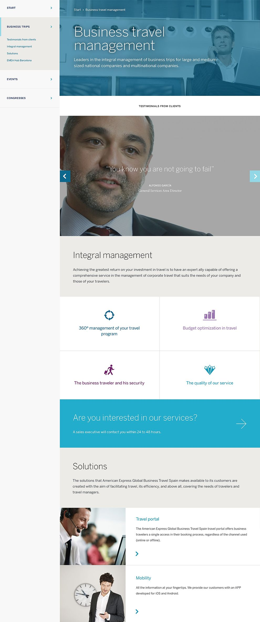 American Express - Global Business Travel Spain Clean Web Design
