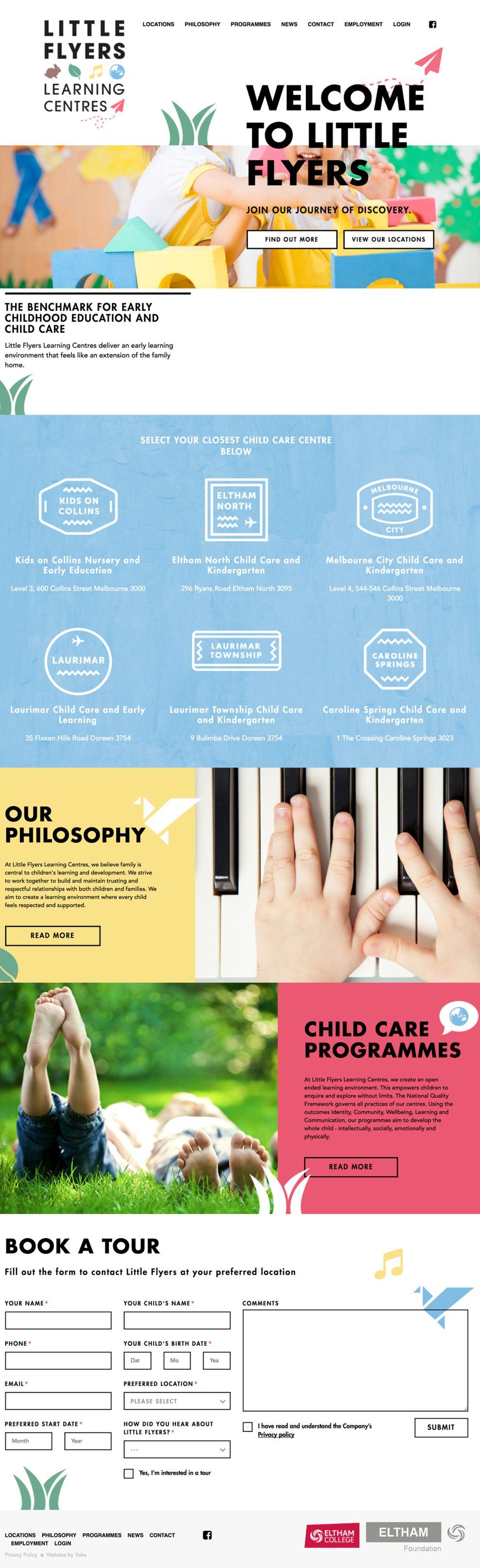 Little Flyers Learning Center Colorful Website Design