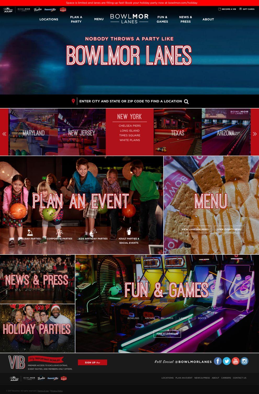 Bowlmor Lanes Stunning Homepage