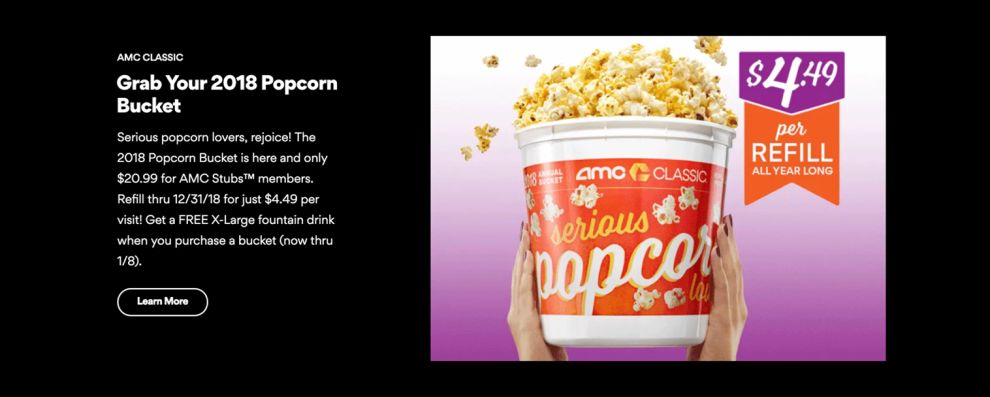 AMC Theatres Great Product Page