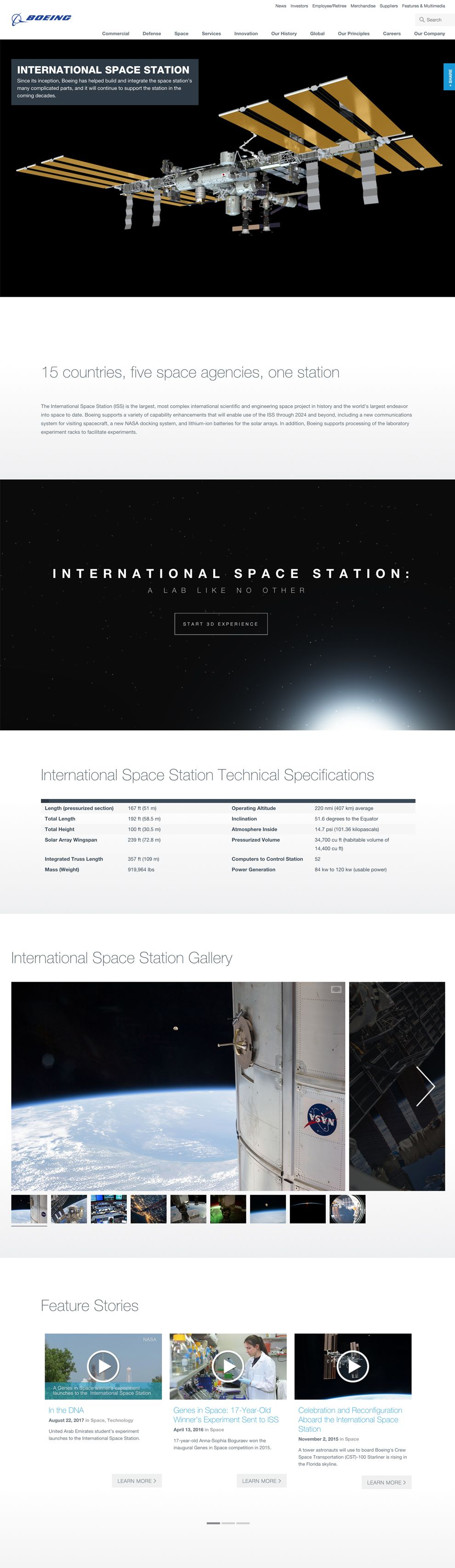 Boeing 3D International Space Station Website Design Homepage
