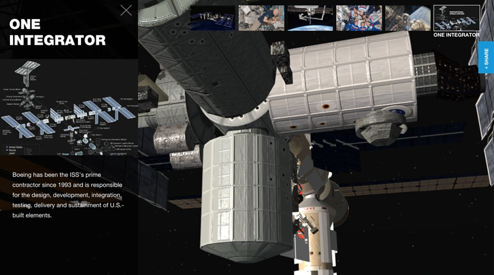 Boeing 3D International Space Station Website Design About Page