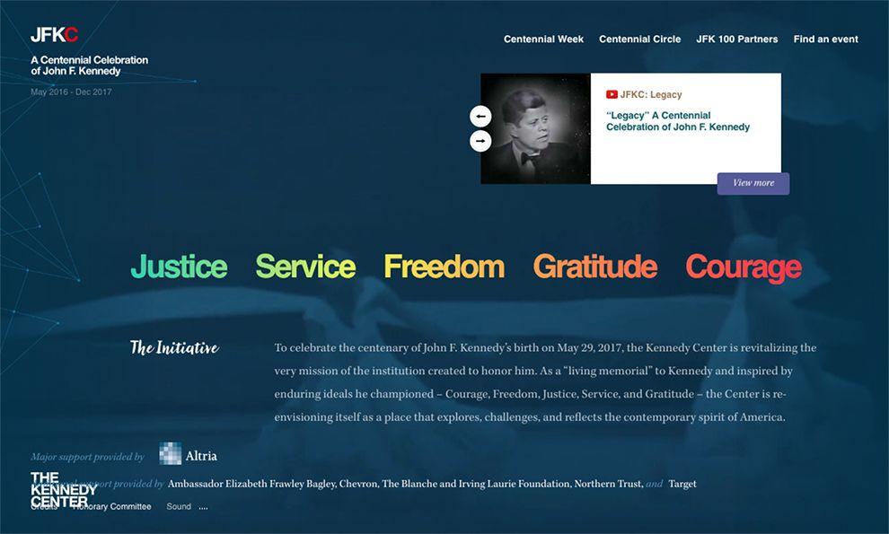 The Kennedy Center Elegant Homepage