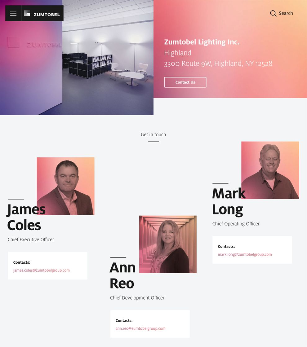 Zumtobel Colorful Contact Page