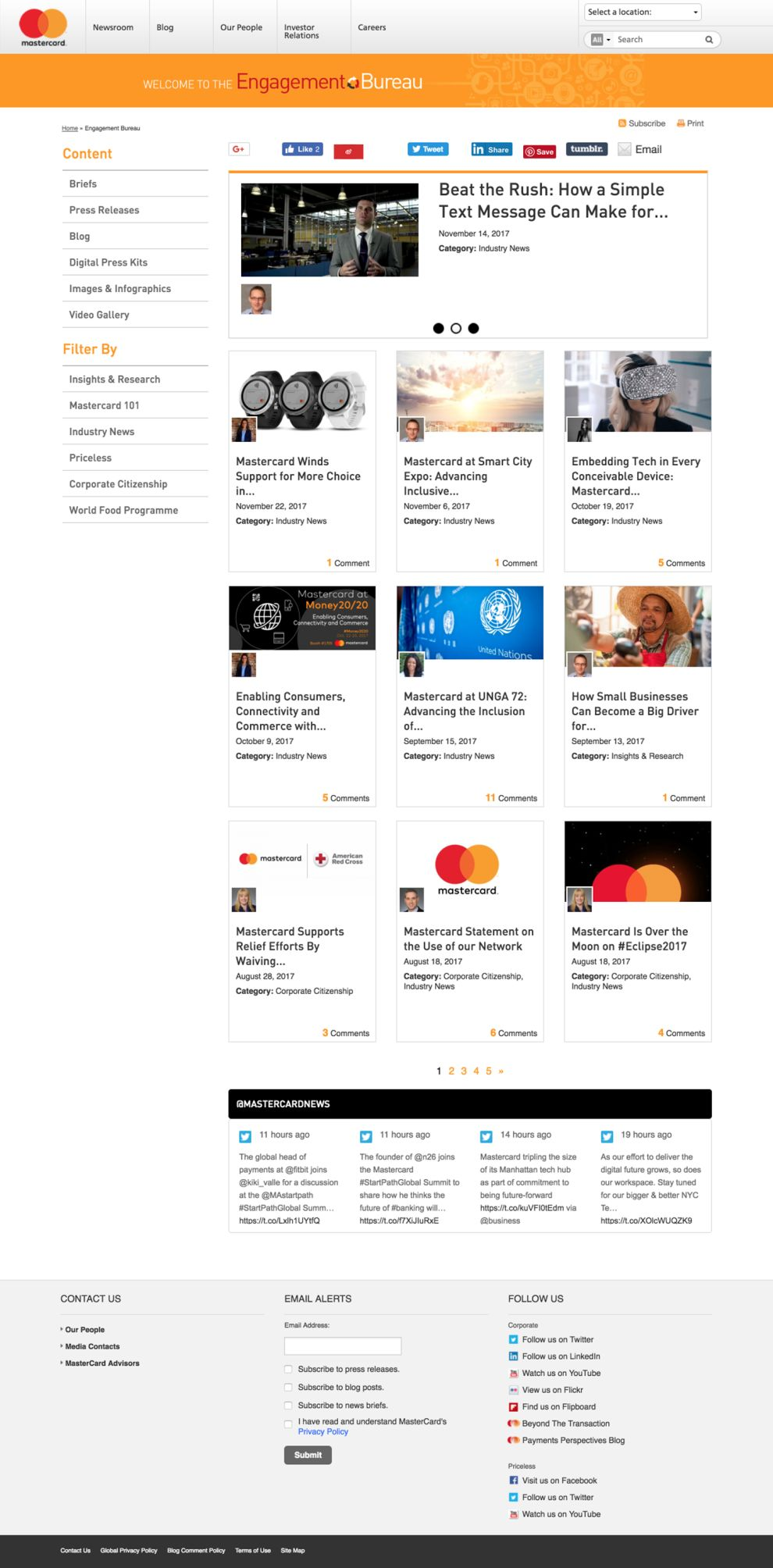 MasterCard Clean News Page
