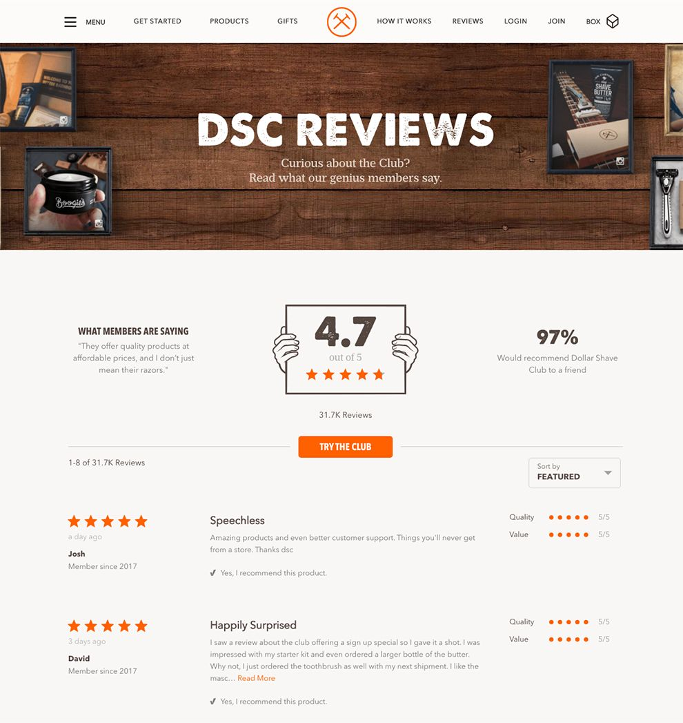 Dollar Shave Club Awesome Testimonials Page